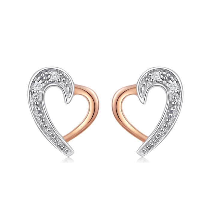 Swan Heart Diamond Earrings