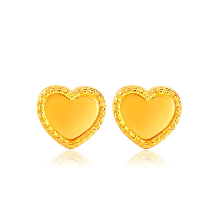 SK 916 Sparkling Heart Gold Earrings