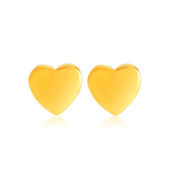 SK 916 Simple Heart Gold Earrings