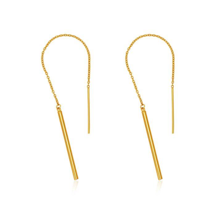 SK 916 Sparkle Drop Gold Earrings
