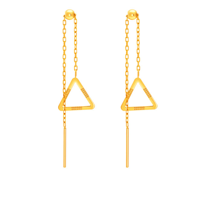 SK 916 Triangle Dazzle Gold Earrings