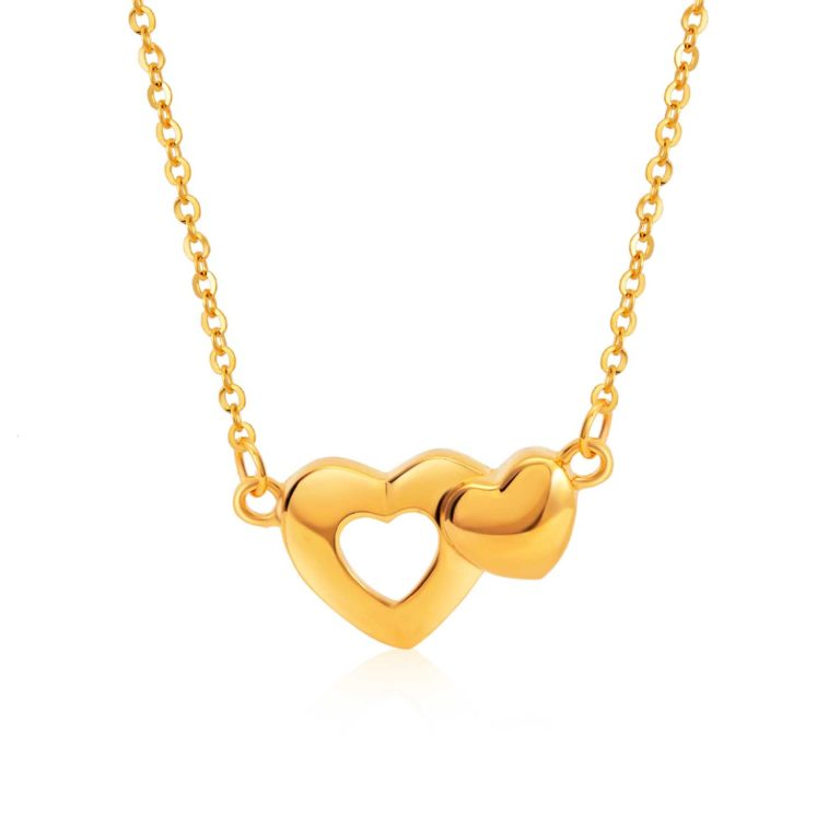 SK 916 Heart to Heart Gold Necklace