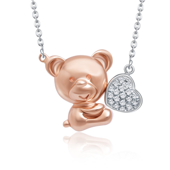Bear in Love Diamond Necklace