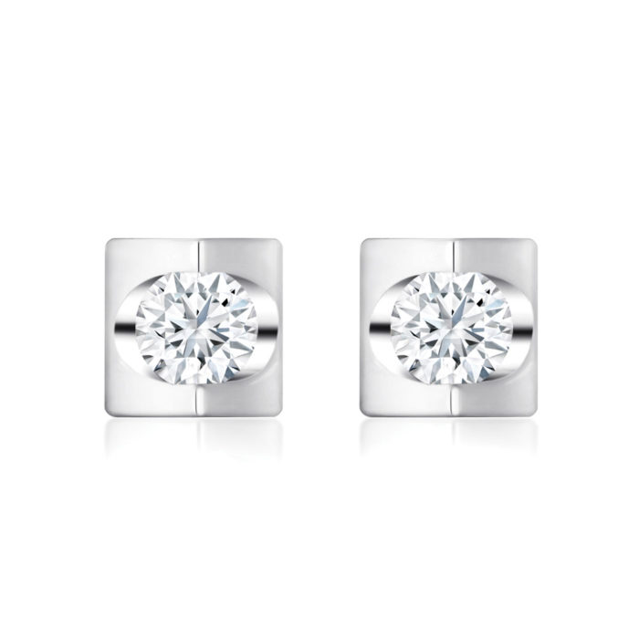 Prismatic Square Diamond Earrings