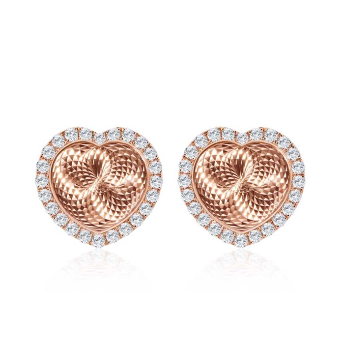 Reflection of Love Heart White Gold Diamond Earrings