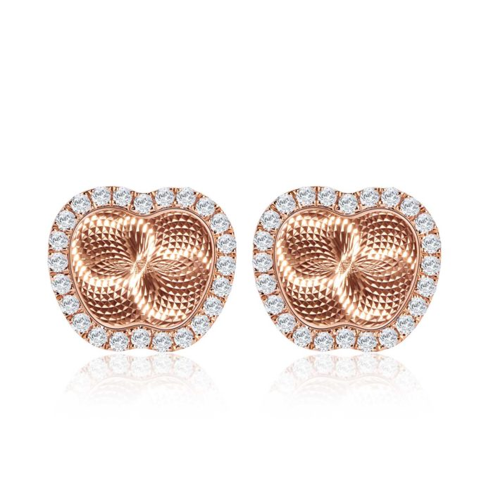 Reflection of Love Apple Rose Gold Diamond Earrings