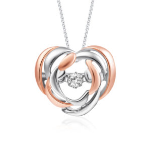 Flutter Heart Rose Gold Diamond Pendant