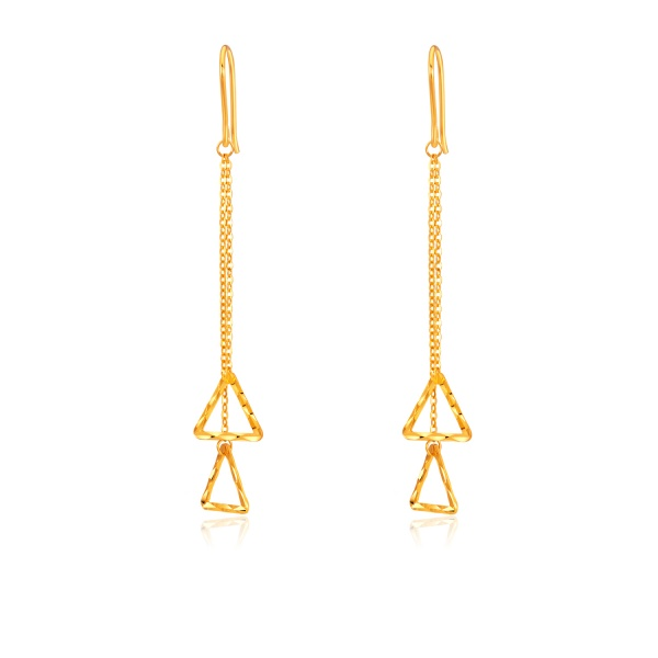 Prism Drop Chain 5G Gold Earrings