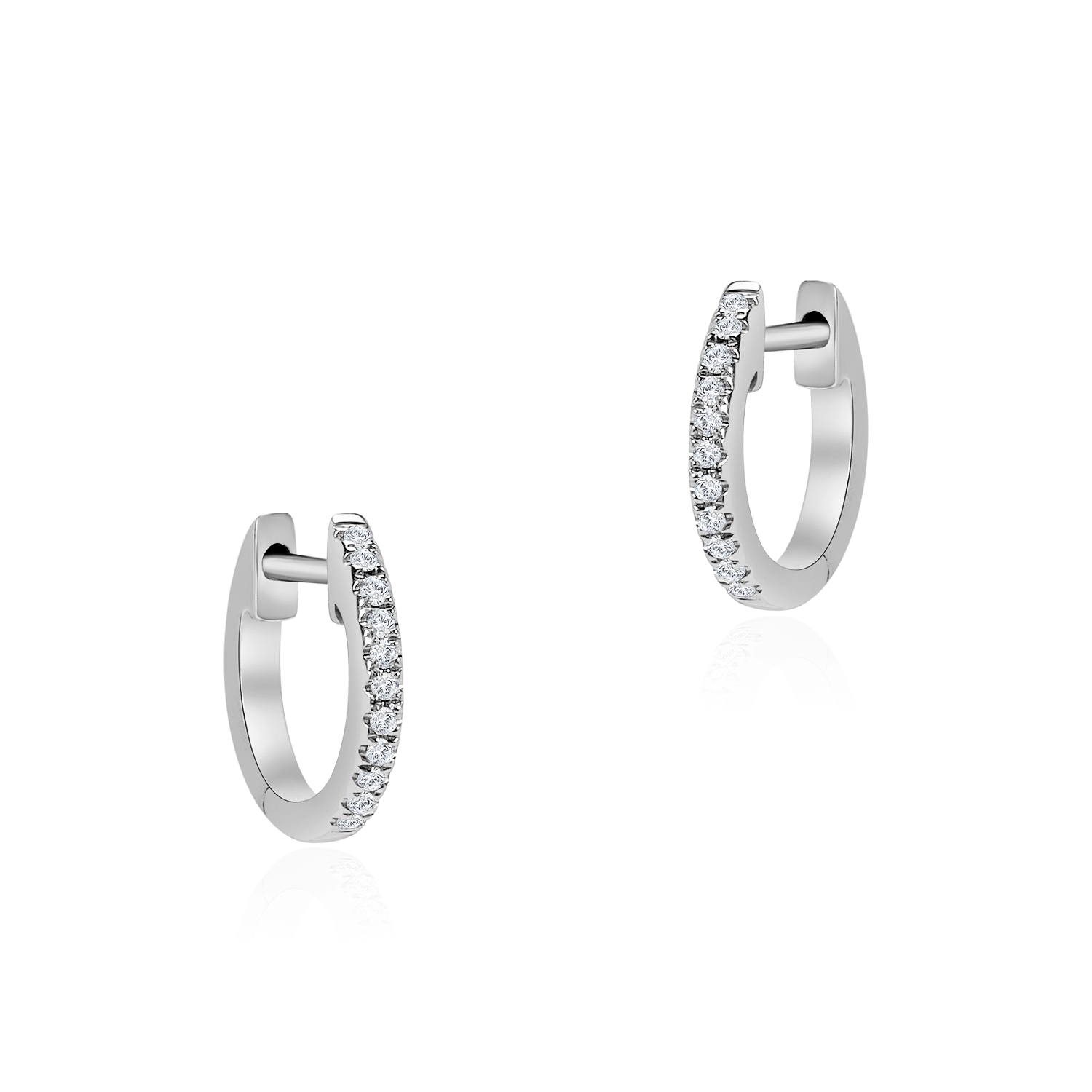 Starry Simplicity White Gold Diamond Hoop Earrings
