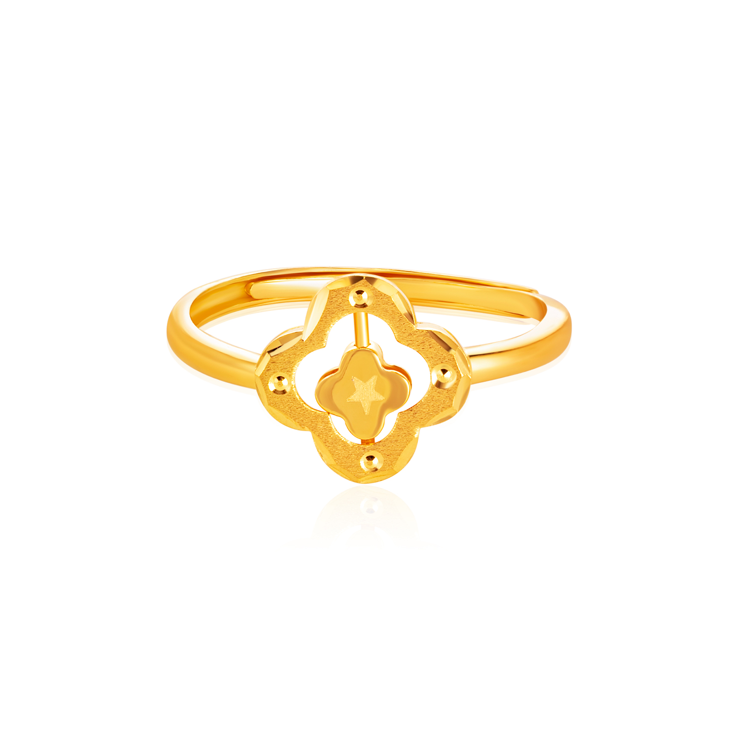 SK 916 Double Clover Gold Ring