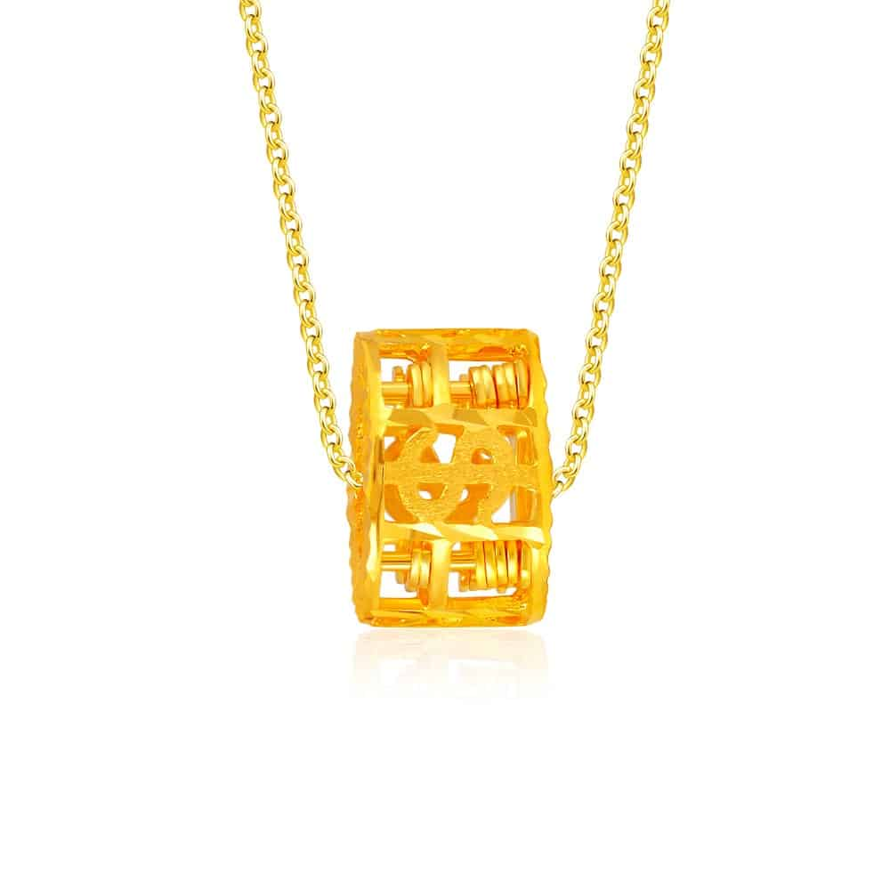 SK 916 Abacus Dollar Gold Pendant