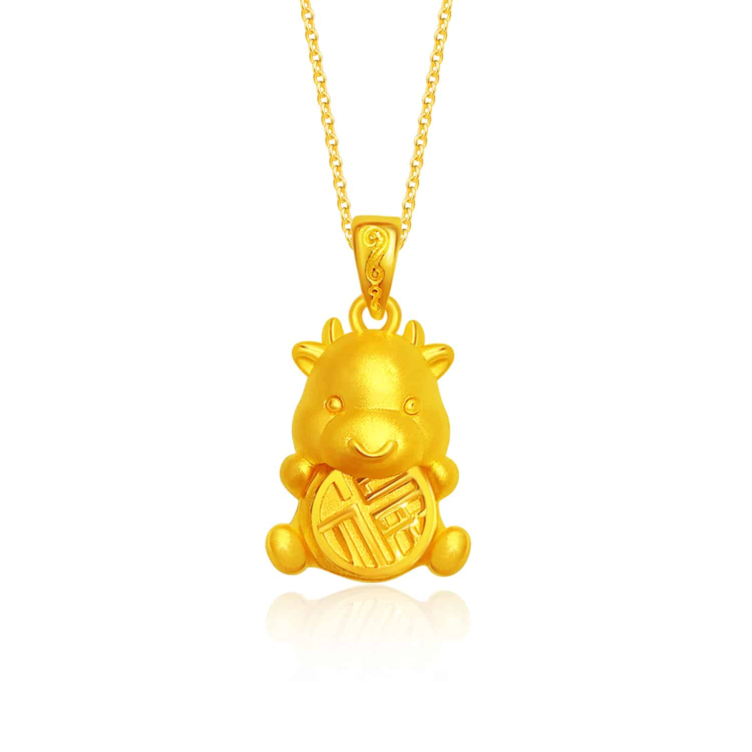 Blessed Ox 999 Pure Gold Pendant