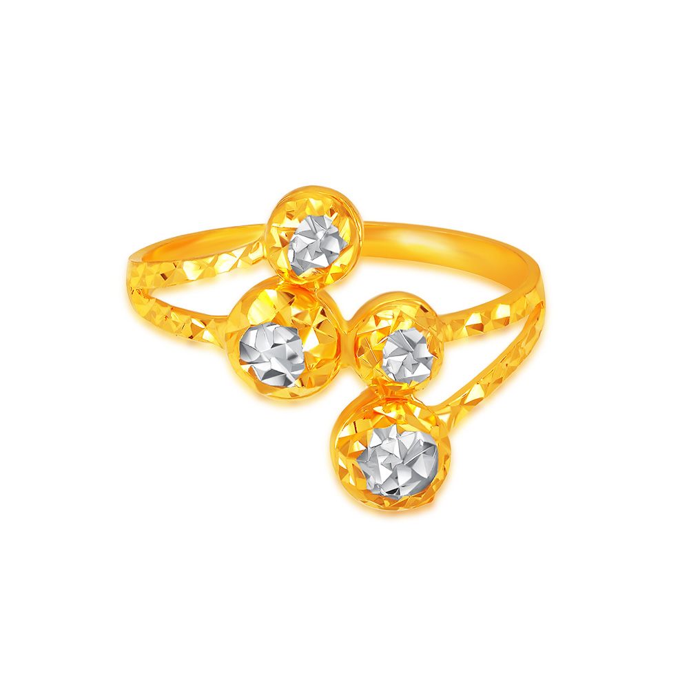 SK 916 Faceted Spheres Gold Ring
