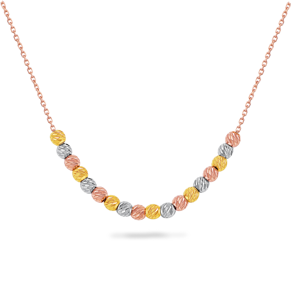 Trio Beaded 14K Rose Gold Necklace