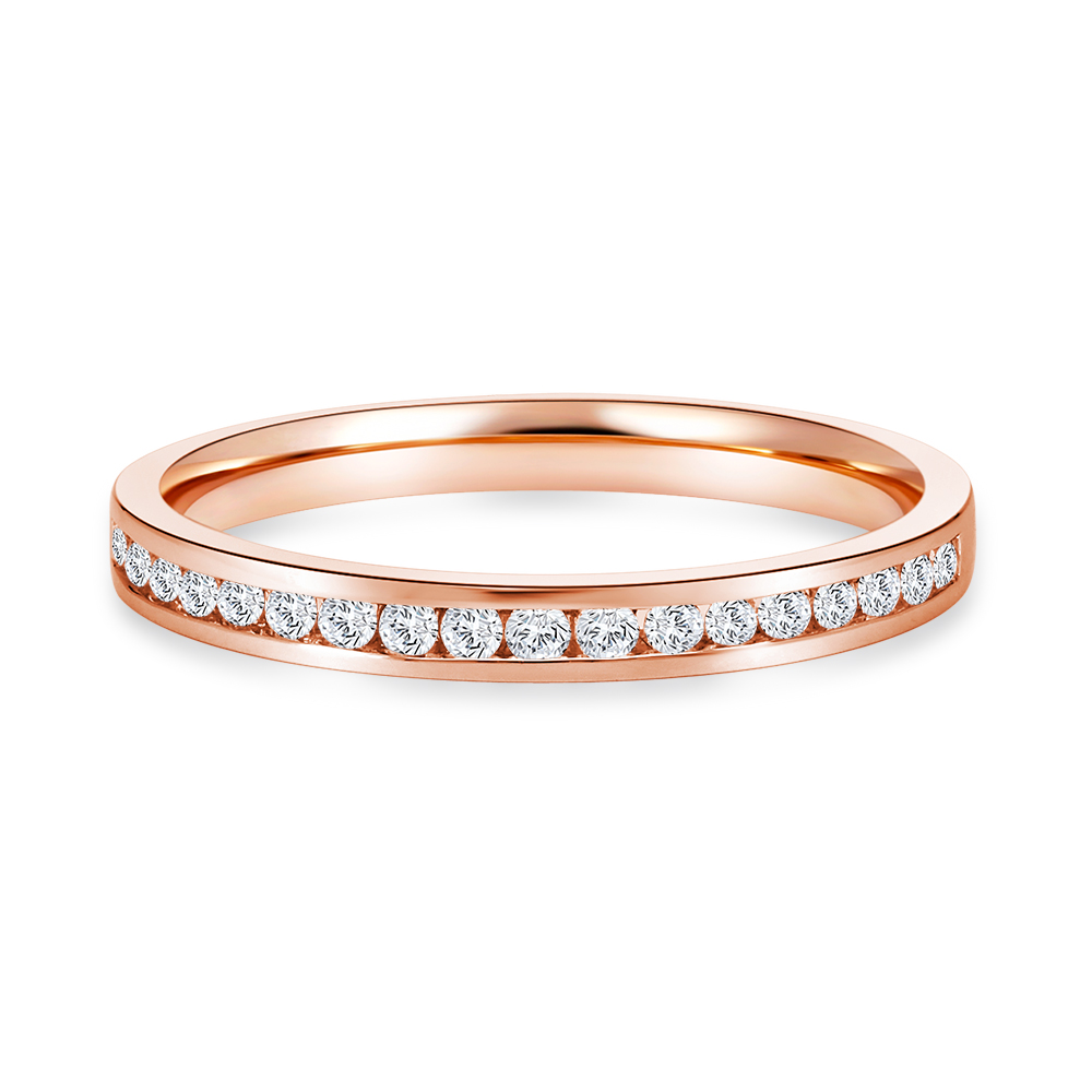 Channel Set Half Eternity Band in Rose Gold