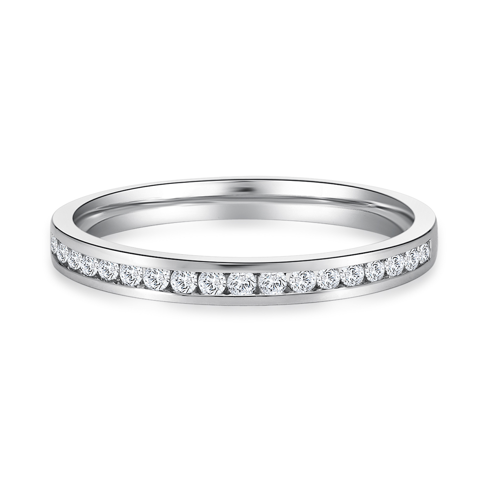 Channel Set Half Eternity Band in White Gold
