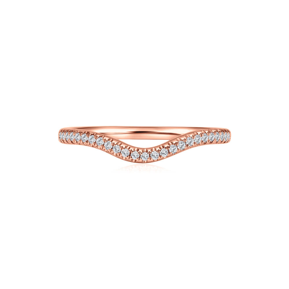 Classic Half Eternity Stackable Diamond Band in Rose Gold