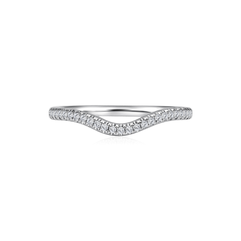 Classic Half Eternity Stackable Diamond Band in White Gold