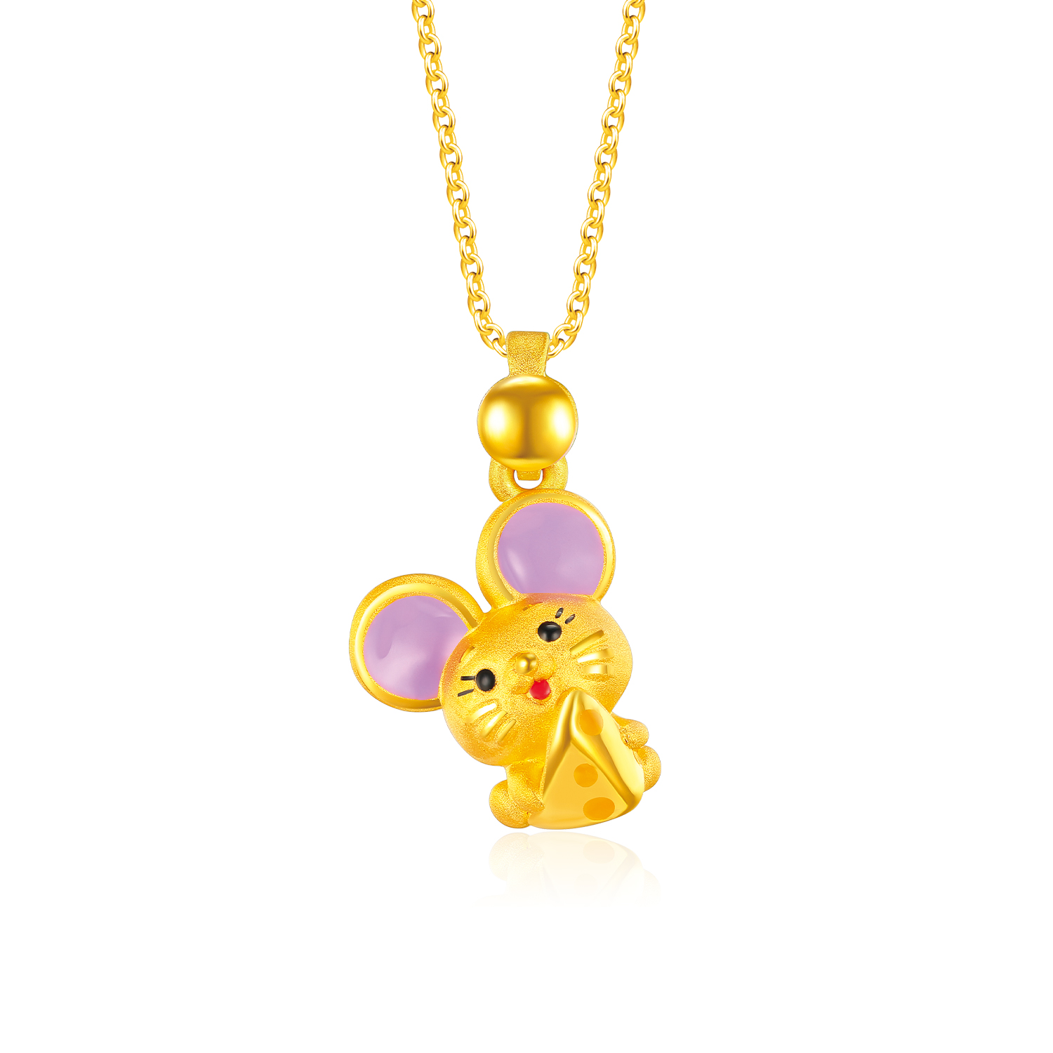 Cheese Mouse 999 Pure Gold Pendant
