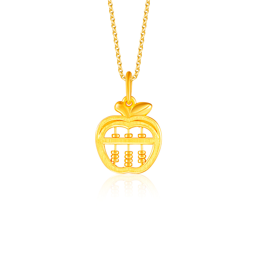 Apple Abacus 999 Pure Gold Pendant