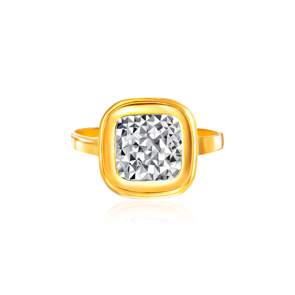 SK Oro Amare Classic Cushion Carre Gold Ring