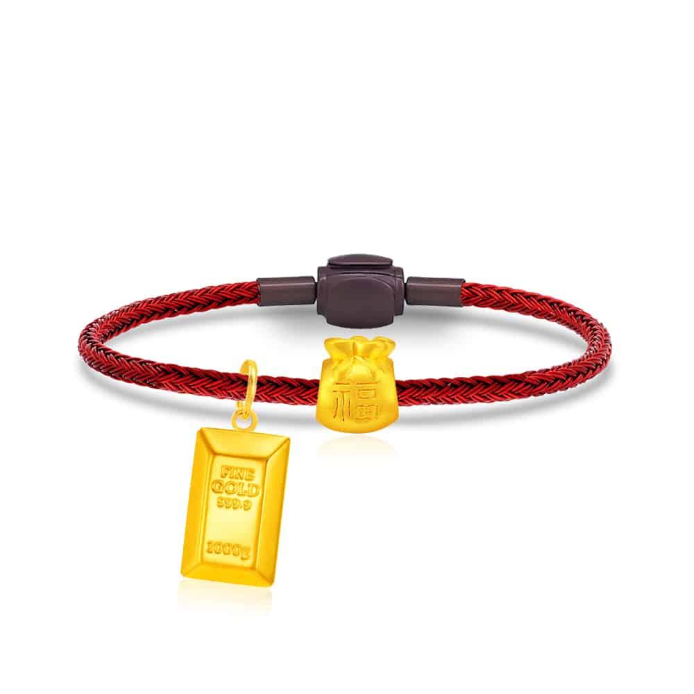 Gold Bar 999 Pure Gold Charm Bracelet