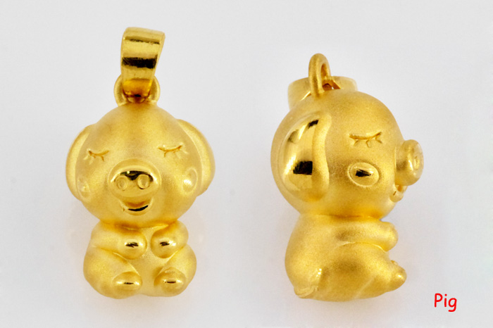 Blessed Zodiac Pig 999 Pure Gold Pendant
